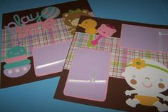 Play time wall art. Premade scrapbook pages. Set by 1OfAKindCrafts