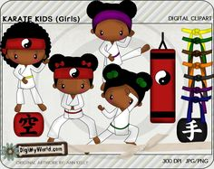 Karate Girls African American, martial arts, tae kwon, black belts and more colored clip art,  for card making and scrapbooking by DigiMyWorld on Etsy https://www.etsy.com/listing/113598752/karate-girls-african-american-martial