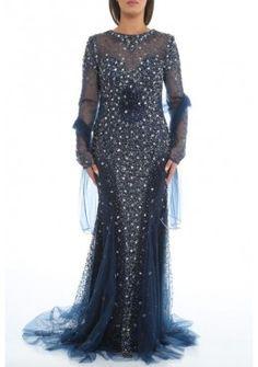 Sexy Rückenausschnitt Abendkleid Nora Langarm in Blau