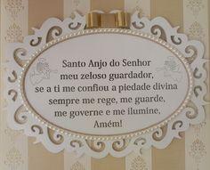 Quadro oração Santo Anjo com pérolas