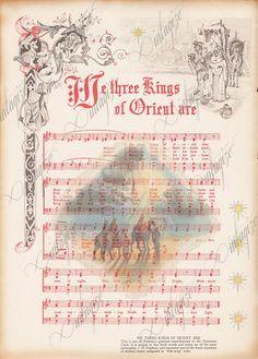 We Three Kings Printable Vintage Christmas Sheet Music-Digital Download