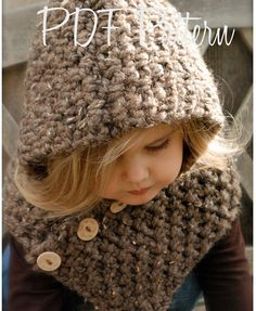 Crochet PATTERN-The Hampton Hood Toddler Child Adult sizes
