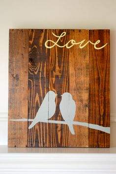 Aufgearbeiteten Holz Kunst Zeichen zwei Vögel von BooneCreekLoft