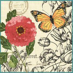"""French Butterflies Yellow Orange"" By Jennifer Brinley."