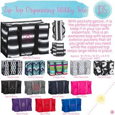 Zip-Top Organizing Utility Tote by Thirty-One. Spring/Summer 2016. Click to order. Join my VIP Facebook Page at https://www.facebook.com/groups/1603655576518592/
