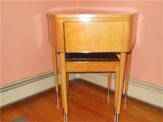 RARE M C Modern Singer Trapezoid Spinet 301 401 500 Sewing Machine Cabinet | eBay