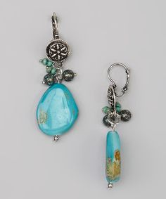 Love this Turquoise Stone Drop Earrings by Treska on #zulily! #zulilyfinds