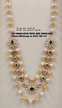 Jewelry OFF! 3 rows Pure south sea pearls chain made in 39 gm Net Gold wt. Visit us for full range Pearl Necklace Designs, Gold Earrings Designs, Gold Bangles Design, Gold Jewellery Design, Latest Gold Jewellery, Gold Chain Design, Gold Jewelry Simple, Simple Necklace, Necklace Set