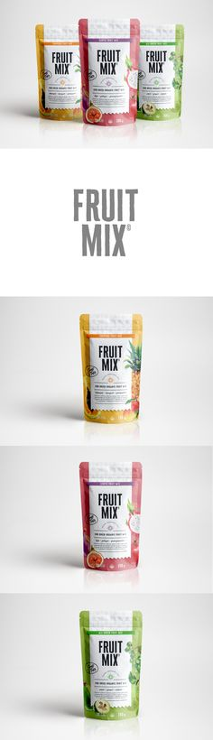 Packaging and Identity for Fruit Mix, sun dried organic fruit snacks to go. https://www.behance.net/panelstudiodesign banding, color, bright, pack, pouch, graphic design, mexico, design