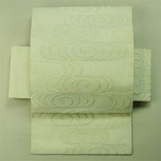 White, rokutsu, sha fabric, nagoya obi for summer / 白地観世水文様六通紗夏物
