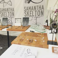 Steel and wood, jewelry display that is industrial and simple by Samantha Skelton | notice ikea cutting boards, beautiful contrast of materials and colors