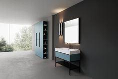 Compab, mobili da bagno componibili della collezione K25, con supporto in metallo e finitura laccata opaca. A Roma da Realprogetti sas Bathroom Cabinetry, Be Your Own Kind Of Beautiful, Kitchen And Bath, Vanity, Mirror, Storage, House, Furniture, Drawer