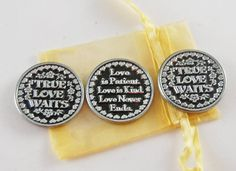 Set of 3 True Love Waits Pocket Tokens with by CourageInStone, $6.00