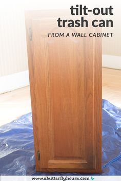 Grungy wall cabinet becomes beautiful and functional tilt-out trash can in this simple DIY! Awesome upcycle furniture flip that anyone can do! #beforeandafter #furnitureflip Diy Furniture Flip, Thrift Store Furniture, Building Furniture, Furniture Projects, Furniture Makeover, Diy Wall Art, Diy Wall Decor, Diy Wood Projects, House Projects