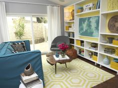 The colorful living room is infused with a modern funk vibe. The TV wall is the focal point of the room, so it's painted a bright yellow to contrast with the rest of the walls that are painted a sophisticated gray.  Emily Henderson, Secrets From a Stylist  http://www.hgtv.com/designers-portfolio/room/eclectic/living-rooms/7875/index.html#//room-living-rooms?soc=pinterest