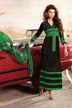 Black and Green Georgette Straight Long Ankle Length Suit