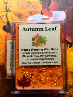 Autumn Leaf Wax Melt, fall scent wax melt, soy melt, wax clamshell by HouseWarmingWaxMelts on Etsy https://www.etsy.com/listing/247027331/autumn-leaf-wax-melt-fall-scent-wax-melt
