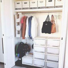 Closet Storage, Closet Organization, Bag Storage, Diy Home Interior, Room Interior, Master Closet, Walk In Closet, House Rooms, Home Renovation