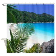 hawaiian+curtains   ... Bathroom Accessories & Décor > Tropical Paradise Beach Shower Curtain