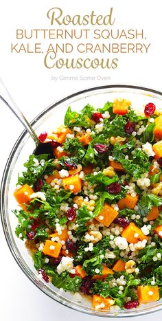 Roasted Butternut Squash, Kale and Cranberry Couscous -- a quick and easy meal t. - Roasted Butternut Squash, Kale and Cranberry Couscous — a quick and easy meal that's so fresh a - Healthy Salads, Healthy Eating, Easy Salads, Summer Salads, Healthy Foods, Squash Salad, Squash Food, Vegetarian Recipes, Healthy Recipes