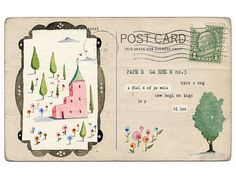 """Lily Moon used a vintage postcard and added watercolor and typed poetry... I think this would make a really nice piece of """"mail art."""""""