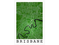 Brisbane Street Map Brisbane Australia Modern Art by JurqStudio