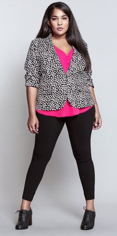 A polka dot blazer with a pop of pink. Love it. #ShopByOutfit
