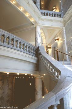 The gorgeous staircase in the capital building in downtown Boise Idaho; photography, canon; marble