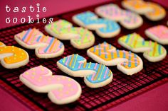 Kid's Birthday Party Cookies - Numeral Design