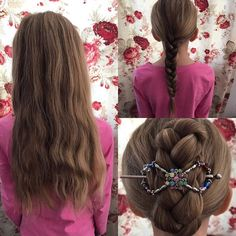 This hairstyle is so easy to do for little girls who have long thick hair! Brush through the hair, do one long braid, and then twist it up with a flexi clip. I'm using a size medium in this picture. Lilla Rose offers so many pretty clips that girls are sure to love!