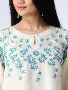 Ivory-Blue Chikankari Hand-Embroidered Silk Top 2019 clothing clothing labels clothing patches clothing wholesale flower clothing fly shirts shirts for ladies shirts sunshine coast style clothing tee shirts clothing Sommer Garten Hochzeits Kleider Embroidery On Kurtis, Hand Embroidery Dress, Kurti Embroidery Design, Embroidery Neck Designs, Embroidered Clothes, Embroidery Fashion, Embroidered Silk, Dress Neck Designs, Blouse Designs