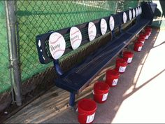 Dug Out ideas name tag baseball plates in batting order buckets full of goodies and water