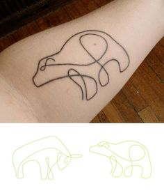 Cute bear line arm tattoo, close
