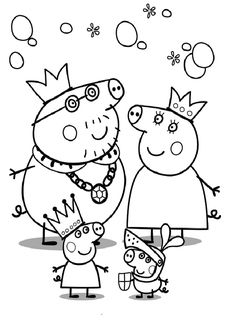 Printable Peppa Pig Coloring Pages. Have a Joy with Peppa Pig Coloring Pages. Do your children like to color pictures? If they do, the Peppa pig coloring pages Peppa Pig Coloring Pages, Family Coloring Pages, Cartoon Coloring Pages, Animal Coloring Pages, Coloring Pages For Kids, Coloring Books, Coloring Sheets, Kids Colouring, Coloring Stuff