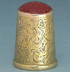 Antique Scandinavian 14 Kt Gold Child's Thimble w/Stone Top; Circa 1890