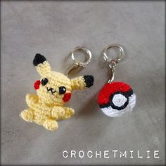 Free crochet pattern - patron gratuit Pikachu and his pokeball pokemon
