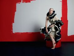 Nadja Auermann Is Modern Art Muse By Matthew Stone For A Magazine Spring2015 - 3 Sensual Fashion Editorials | Art Exhibits - Women's Fashion & Lifestyle News From Anne of Carversville