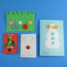 Homemade Button Christmas Cards by Amanda Formaro, Crafts by Amanda: