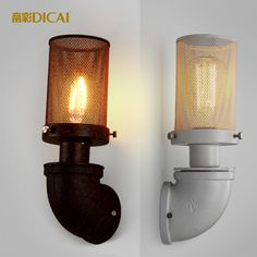 2016 Retro Landing Balcony Corridor Courtyard Wall Lamp Iron Pipe Home Balcony Luminaire Creative Night LIght Apliques Pared