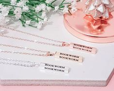 Bookish Gifts For Book Lovers, Readers & Writers by missbohemia Gifts For Bookworms, Vertical Bar, Book Lovers Gifts, Bar Necklace, Rose Gold Plates, Book Worms, Writers, Etsy Seller, Gift Ideas