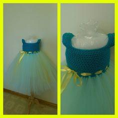 Crochet Tutu Dress #tutudress #crochet #crochettutudress #custom #tutu #crochettop #custommade #birthdayoutfit #blueandyellow #toddler #birthdaydress by bubbyscrochet