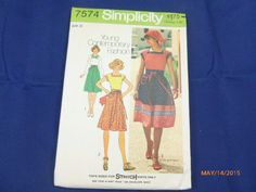 7574 Simplicity SZ 10 Pattern Young Contemporary Fashion Misses Pullover Tops Skirt Scarf Vintage 1976 Uncut by 2xisnice on Etsy