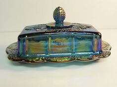 VINTAGE INDIANA BLUE CARNIVAL GLASS HARVESTGRAPE BUTTER DISH/LID~~~my mom had carnival glass