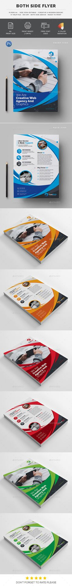 Both Side Flyer by generousart Specification4 CMYK Color Mode 300 DPI Resolution A4 Paper Size 0.25�20in Bleed Side Features Free FontsSmart Object For Replace Ph
