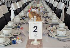 Wystrój stołu weselnego, numerki stołów