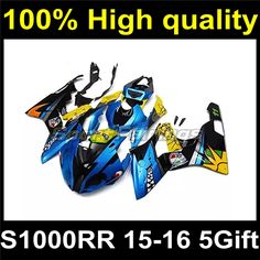 620.00$  Buy here - http://aia5c.worlditems.win/all/product.php?id=32798969591 - Blue Yellow Black Plastic Body Fairing Kit For BMW S1000RR S1000 RR 2015 2016 15 16 Body Fairing Set B15-11