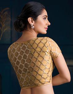 mob image Golden Blouse Designs, Blouse Designs High Neck, Fancy Blouse Designs, Saree Jacket Designs, Silk Saree Blouse Designs, Saree Blouse Patterns, Gold Blouse, Sarees, Ethnic