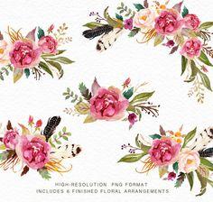 Aquarell Blumen Clip Art-Flourish ---Was bekommen Sie?-- 6 fertige Aquarell Blumen Arrangements(5 x floral bouquets 1 x Floral Wreath) 23 Einzelelementen Größe: 250px ~ 3500px Format: PNG mit transparentem Hintergrund /JPEG mit weißem Hintergrund Auflösung: 300 DPI --Wie können Sie