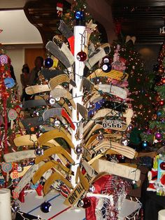 Hockey Stick Christmas tree christma friend, hockey holiday, christstick tree, christmas tree ideas, hockey stick christmas tree, christma tree, hockey christma, christmas trees, awesom christma