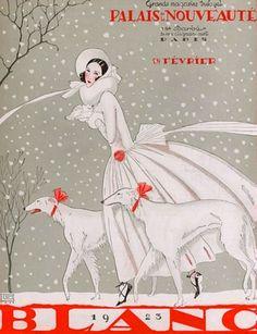 Brunelleschi, Umberto (b,1879)- Borzois w Woman, Snowy Day- 'Palais Nouveute' - Feb. 1923
